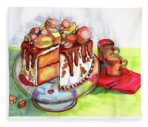 Illustration Of  Winter Party Cake  Fleece Blanket