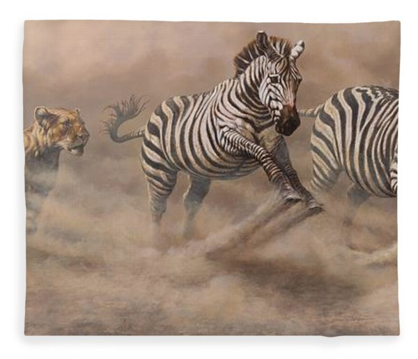 Fleece Blanket featuring the painting In Pursuit by Alan M Hunt