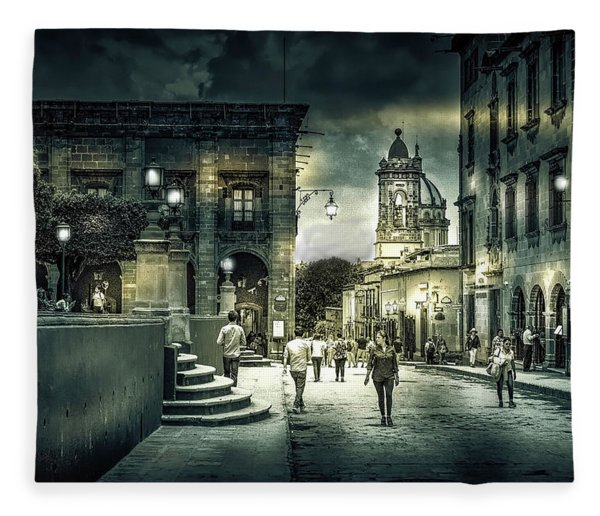 In Town Black And White Fleece Blanket