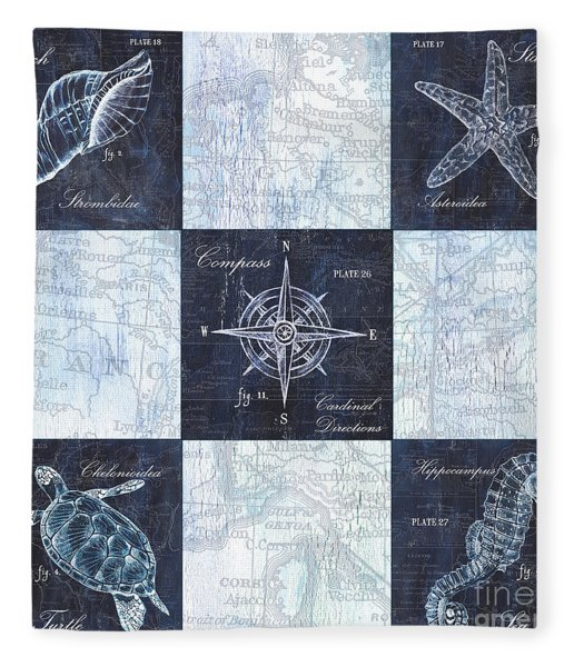 Indigo Nautical Collage Fleece Blanket