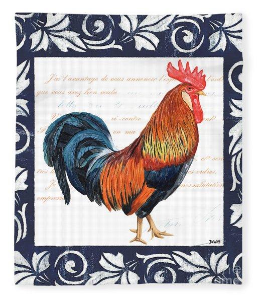 Indigo Rooster 1 Fleece Blanket