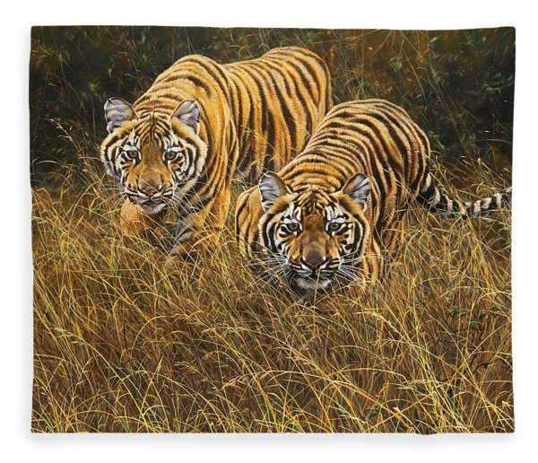Fleece Blanket featuring the painting Intent by Alan M Hunt