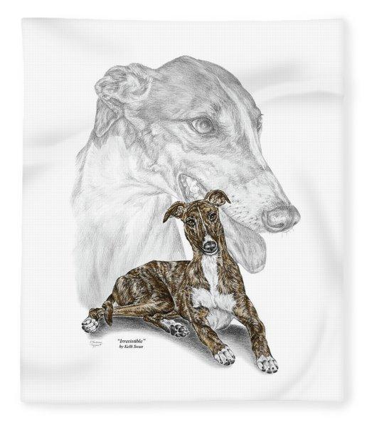 Irresistible - Greyhound Dog Print Color Tinted Fleece Blanket