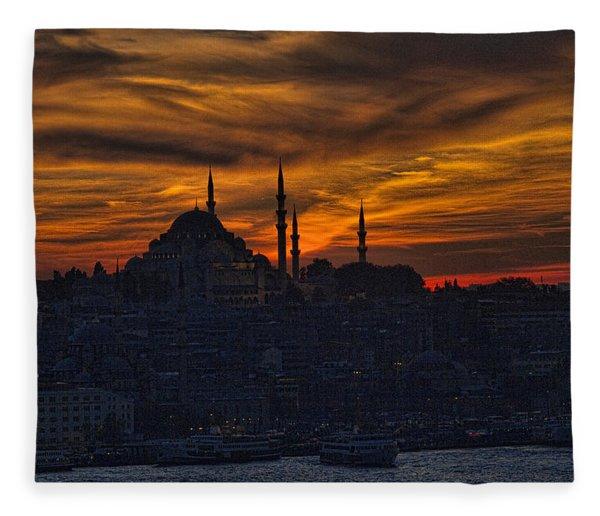 Istanbul Sunset - A Call To Prayer Fleece Blanket