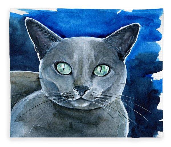 Jackpot - Russian Blue Cat Painting Fleece Blanket