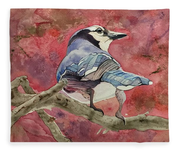 Jay In The Japanese Maple Fleece Blanket