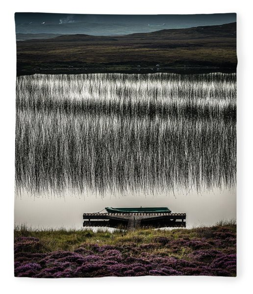 Jetty, Loch Na Maracha, Isle Of Harris Fleece Blanket