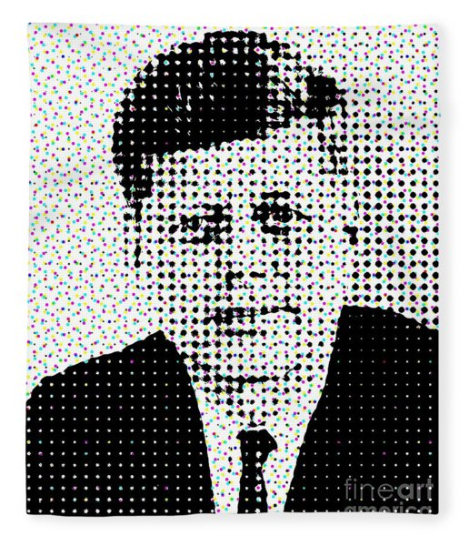 John F Kennedy In Dots Fleece Blanket