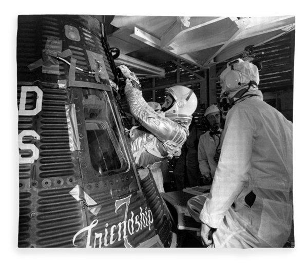 John Glenn Entering Friendship 7 Spacecraft Fleece Blanket