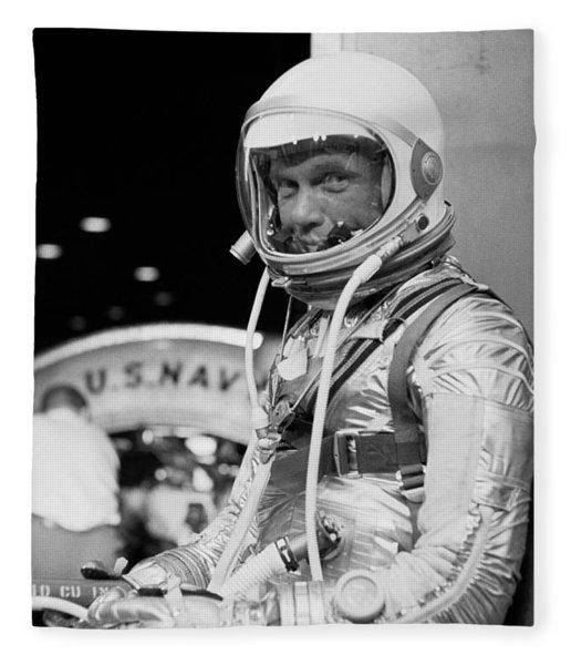 John Glenn Wearing A Space Suit Fleece Blanket