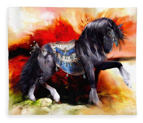 Kachina Hopi Spirit Horse  Fleece Blanket