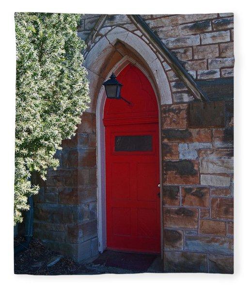 Red Church Door Fleece Blanket