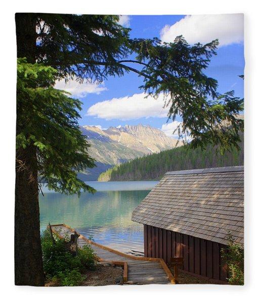 Kintla Lake Ranger Station Glacier National Park Fleece Blanket