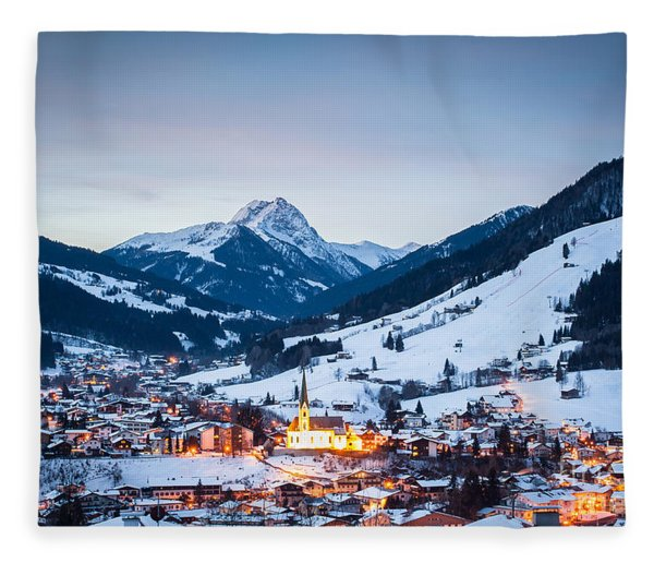 Kirchberg Austria In The Evening Fleece Blanket