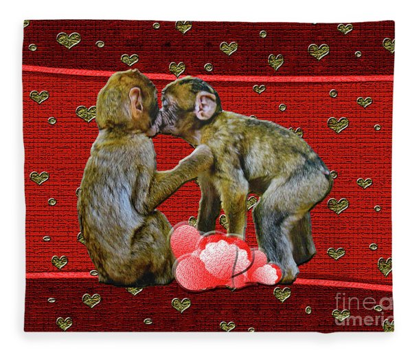 Kissing Chimpanzees Hearts Fleece Blanket