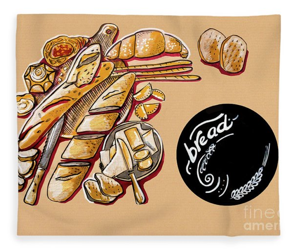Kitchen Illustration Of Menu Of Bread Products  Fleece Blanket