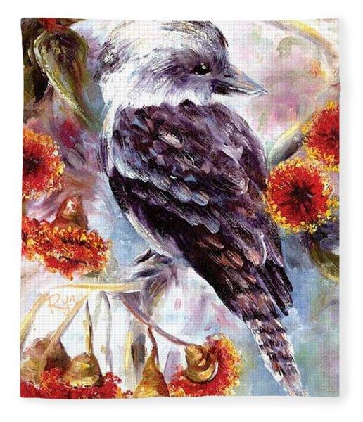 Kookaburra In Red Flowering Gum Fleece Blanket
