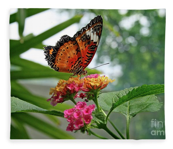 Lacewing Butterfly Fleece Blanket