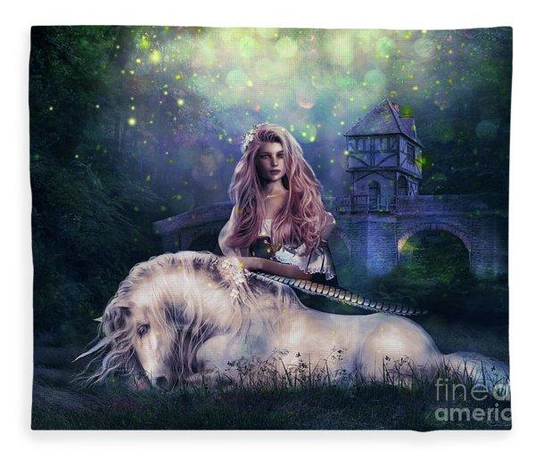 Lady And The Unicorn Fleece Blanket
