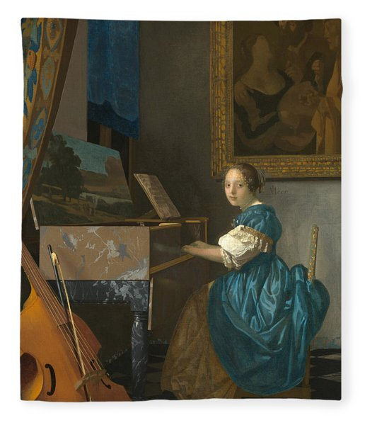 Lady Seated At A Virginal Fleece Blanket