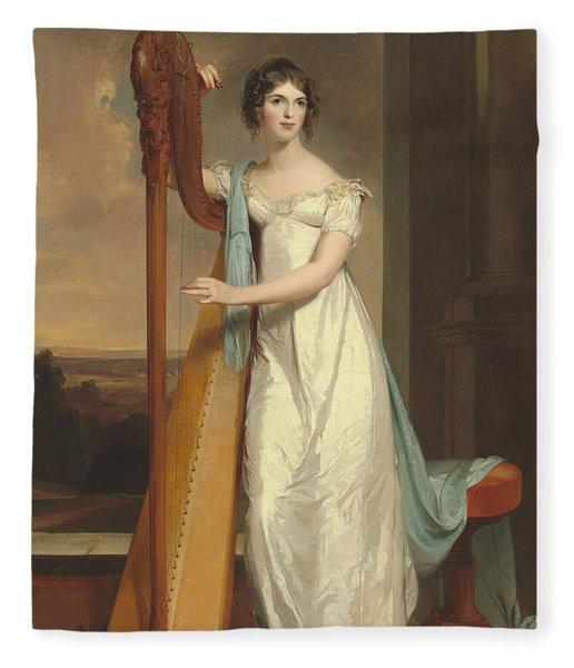Lady With A Harp Fleece Blanket
