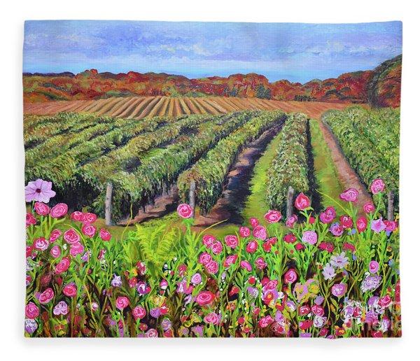 Lake Erie Vineyard-fall Colors Fleece Blanket