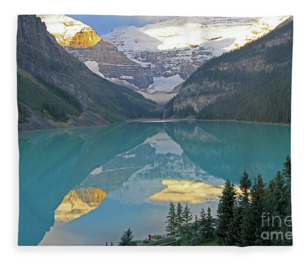 Lake Louise Sunrise Fleece Blanket
