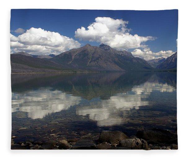 Lake Mcdonald Reflection Glacier National Park Fleece Blanket