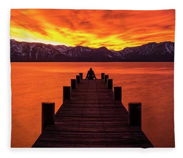 Lake Tahoe Sunset Pier By Brad Scott Fleece Blanket