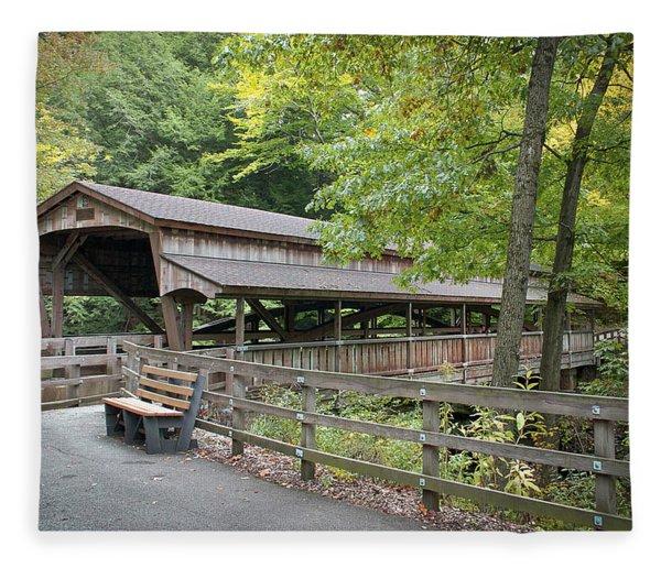 Lanterman's Mill Covered Bridge Fleece Blanket