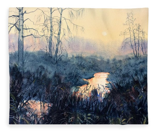 Last Light On Skipwith Marshes Fleece Blanket