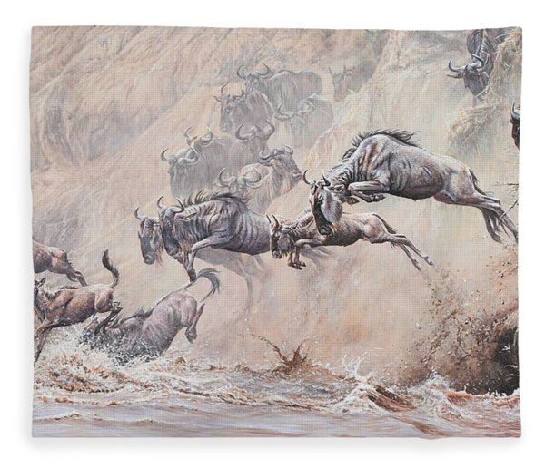 Fleece Blanket featuring the painting Leap Of Faith by Alan M Hunt