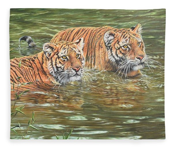 Fleece Blanket featuring the painting Leave This To Me Sis by Alan M Hunt