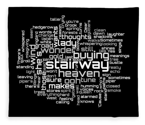 Fleece Blanket featuring the digital art Led Zeppelin - Stairway To Heaven Lyrical Cloud by Susan Maxwell Schmidt