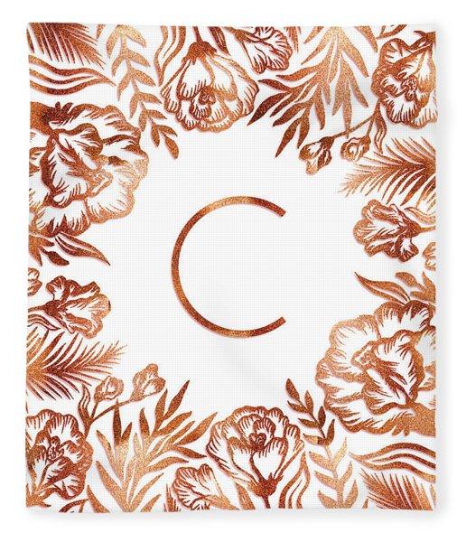 Letter C - Rose Gold Glitter Flowers Fleece Blanket