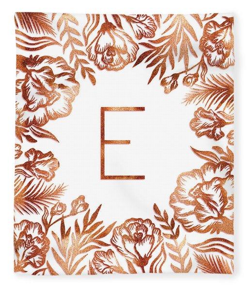 Letter E - Rose Gold Glitter Flowers Fleece Blanket