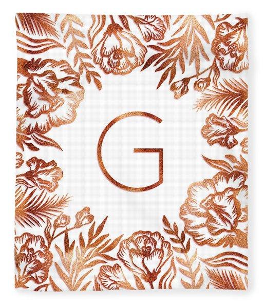 Letter G - Rose Gold Glitter Flowers Fleece Blanket