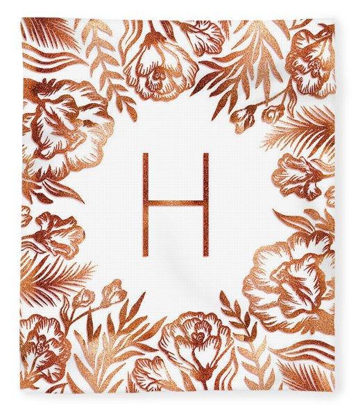 Letter H - Rose Gold Glitter Flowers Fleece Blanket