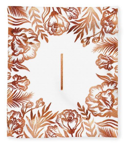 Letter I - Rose Gold Glitter Flowers Fleece Blanket