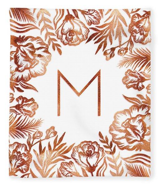 Letter M - Rose Gold Glitter Flowers Fleece Blanket