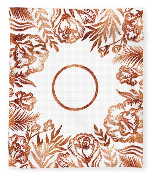 Letter O - Rose Gold Glitter Flowers Fleece Blanket