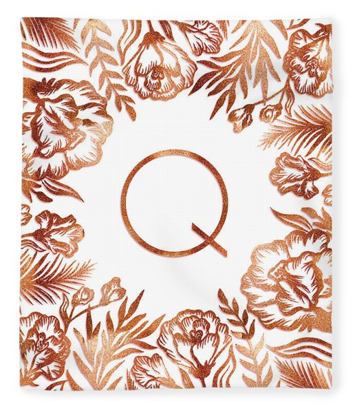 Letter Q - Rose Gold Glitter Flowers Fleece Blanket