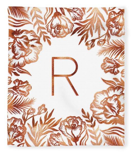 Letter R - Rose Gold Glitter Flowers Fleece Blanket