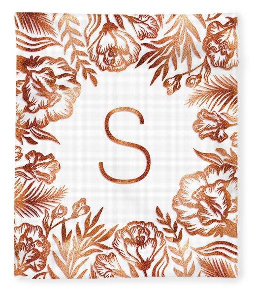 Letter S - Rose Gold Glitter Flowers Fleece Blanket