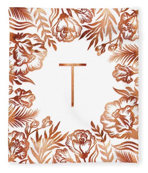 Letter T - Rose Gold Glitter Flowers Fleece Blanket