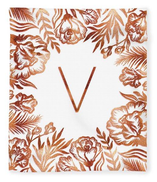 Letter V - Rose Gold Glitter Flowers Fleece Blanket