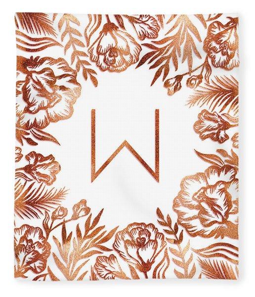 Letter W - Rose Gold Glitter Flowers Fleece Blanket