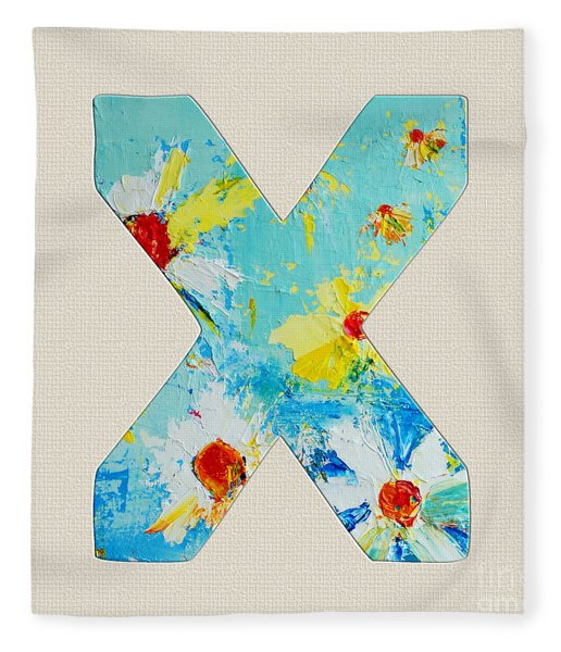 Letter X Roman Alphabet - A Floral Expression, Typography Art Fleece Blanket