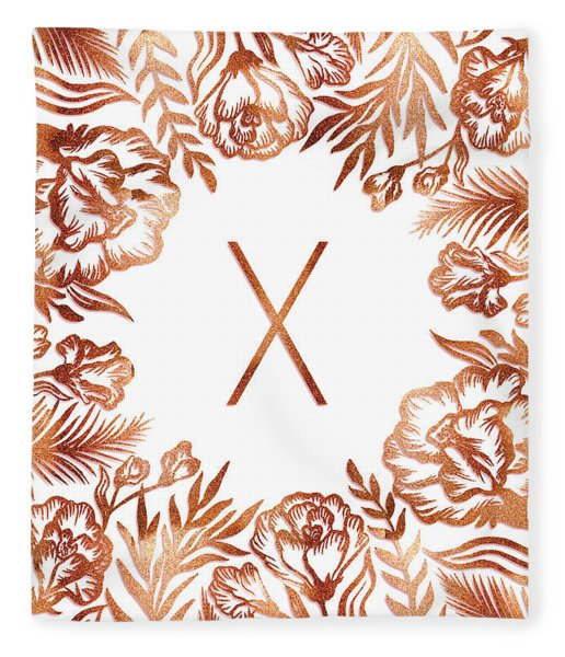 Letter X - Rose Gold Glitter Flowers Fleece Blanket