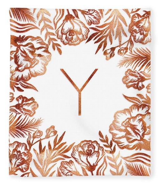 Letter Y - Rose Gold Glitter Flowers Fleece Blanket
